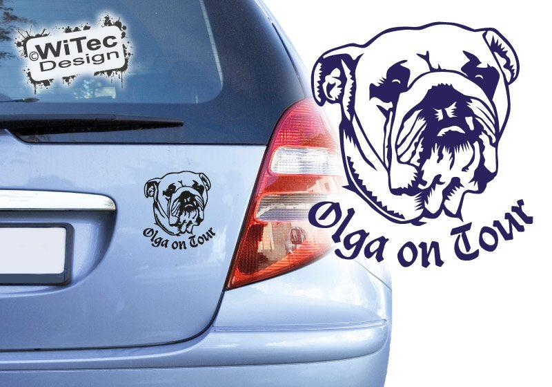 Englische Bulldogge on Tour Autoaufkleber Name Aufkleber Hunde
