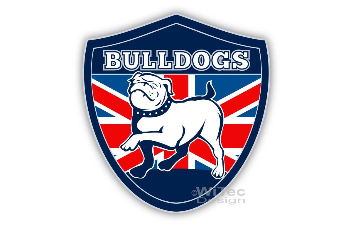Hundeaufkleber Englische Bulldogge auf Flagge Auto Aufkleber Sticker