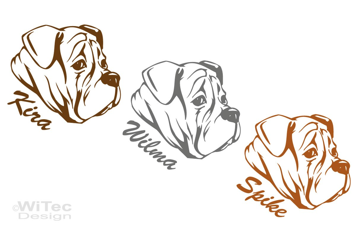Hundeaufkleber Engische Bulldogge Auto Aufkleber Name Hundesticker
