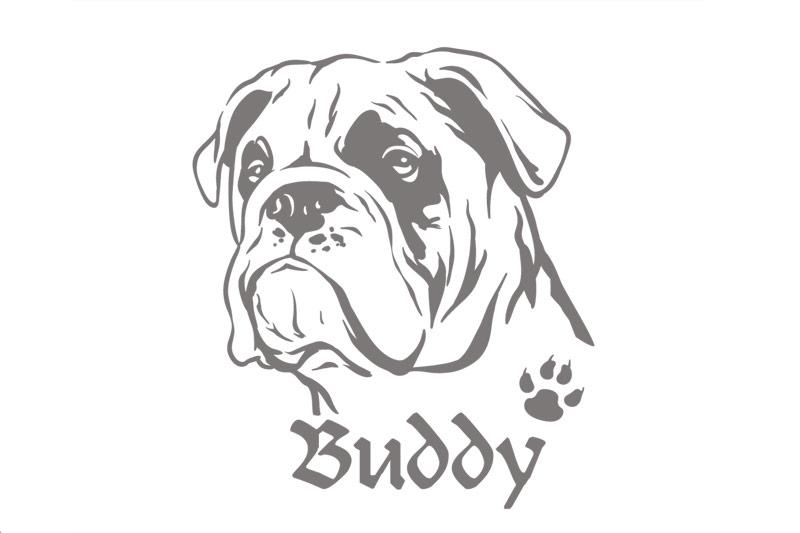 Hundeaufkleber Englische Bulldogge Aufkleber Wunschname