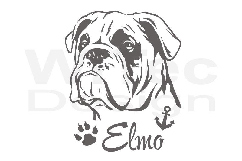 Hundeaufkleber Englische Bulldogge Aufkleber Name Pfote