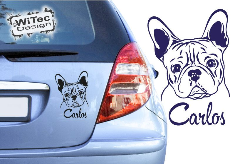 Französische Bulldogge Wunschname Autoaufkleber Hundeaufkleber