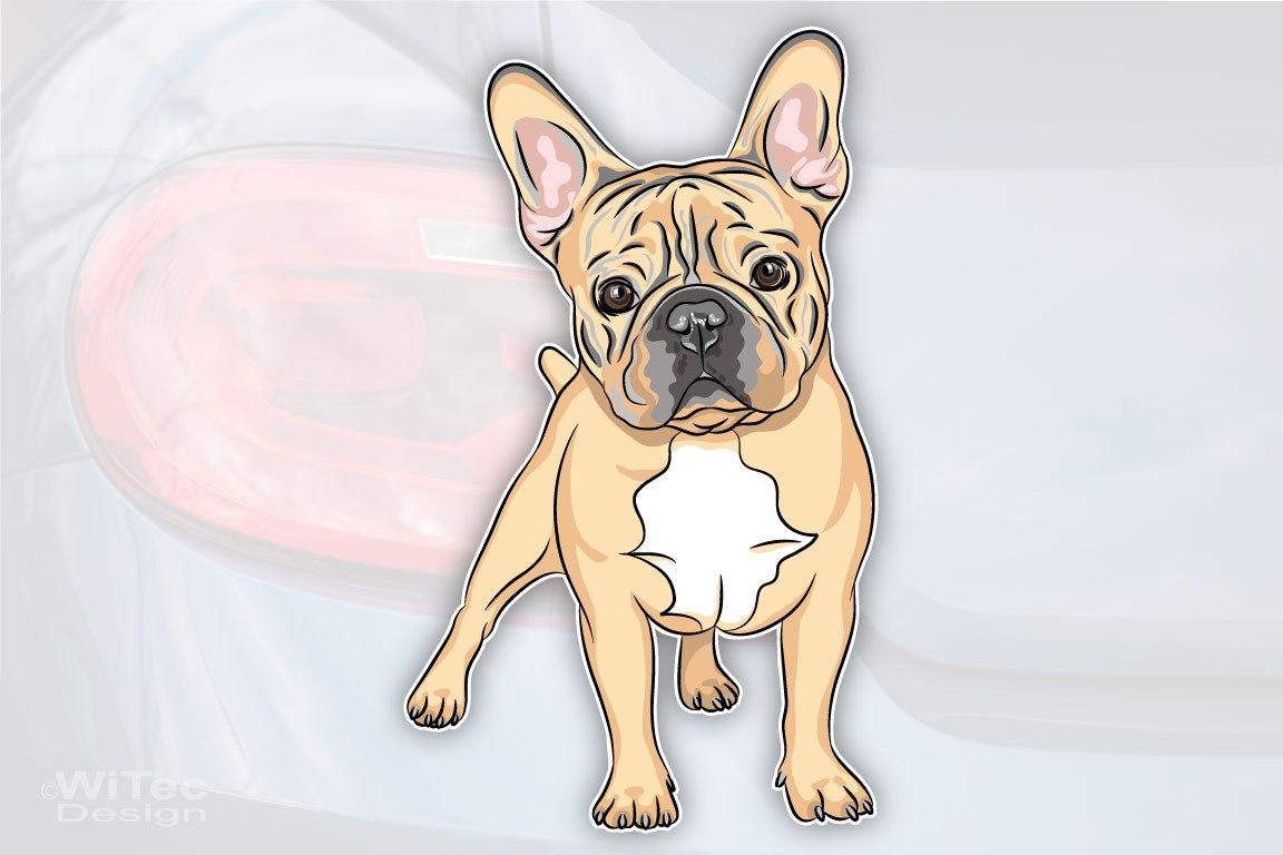 Hundeaufkleber Französische Bulldogge Fawn Autoaufkleber Digitaldruck