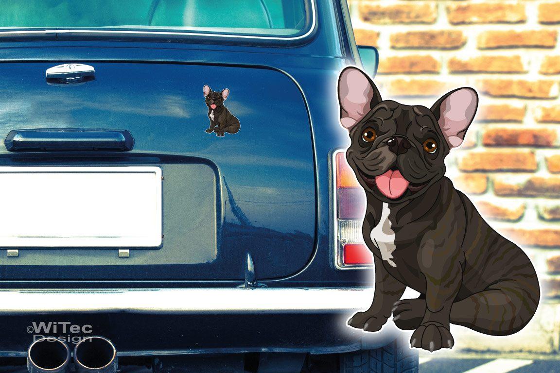 Hundeaufkleber Französische Bulldogge Autoaufkleber Digitaldruck