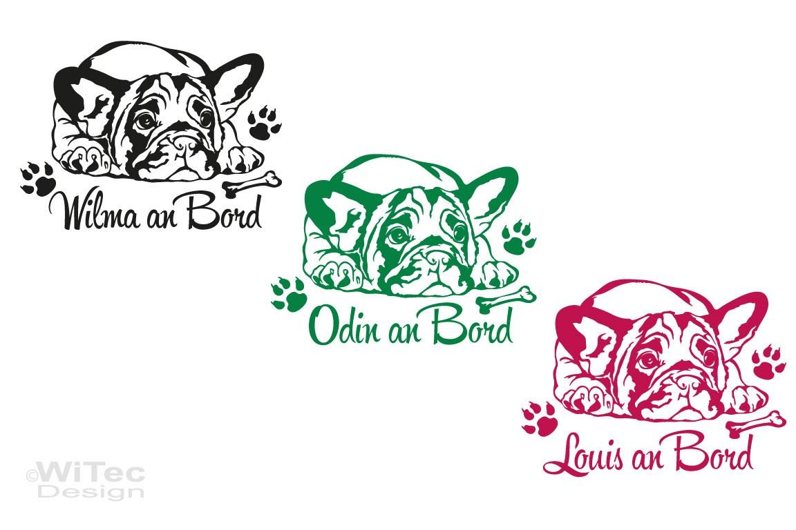 Hundeaufkleber Französische Bulldogge an Bord Auto Aufkleber