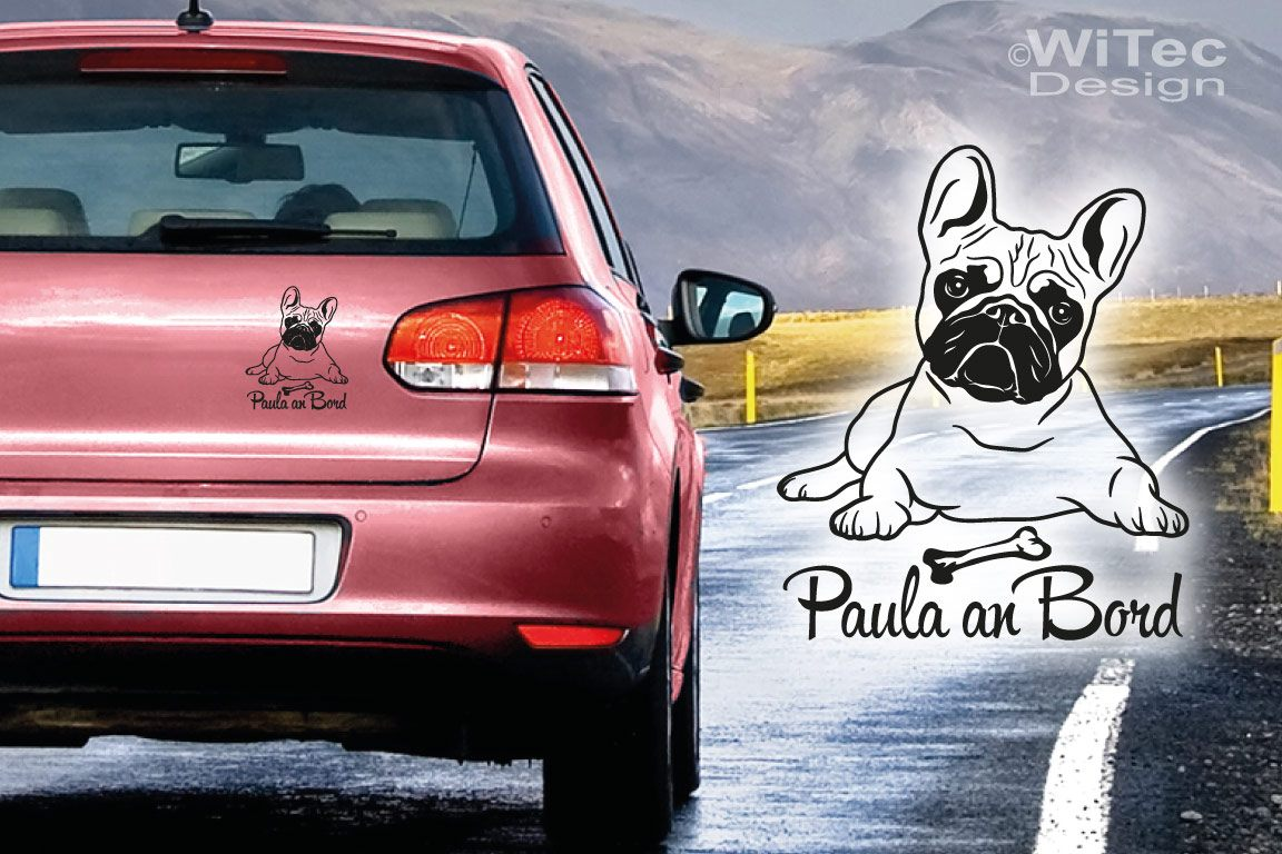 Hundeaufkleber Französische Bulldogge Wunschname Autoaufkleber