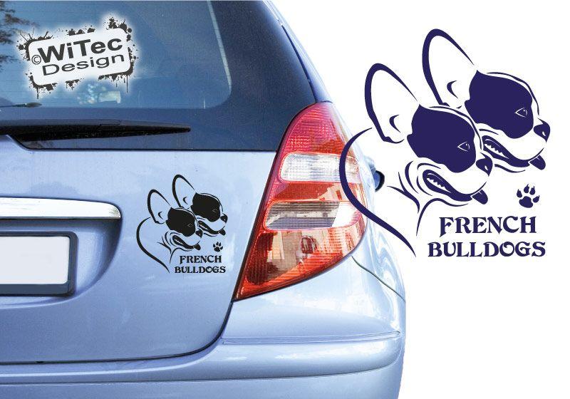 Hundeaufkleber French Bulldogs Französische Bulldogge Autoaufkleber