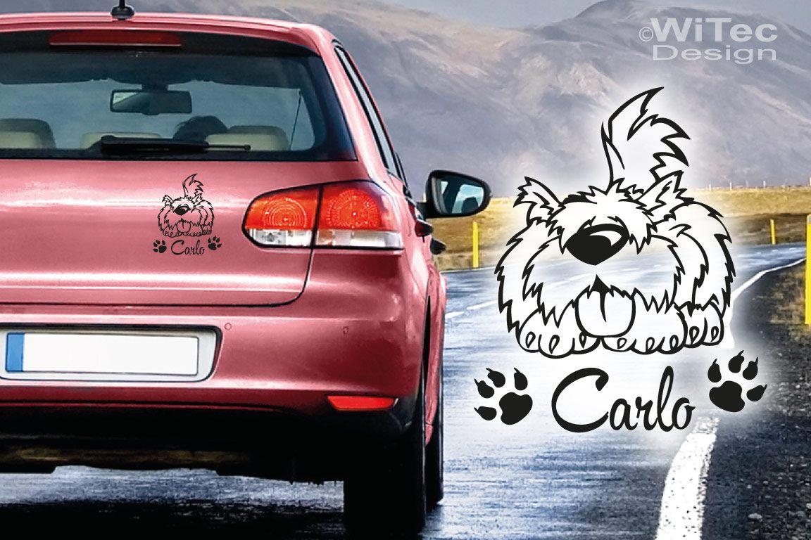 Autoaufkleber Hund Name Pfoten Hundeaufkleber