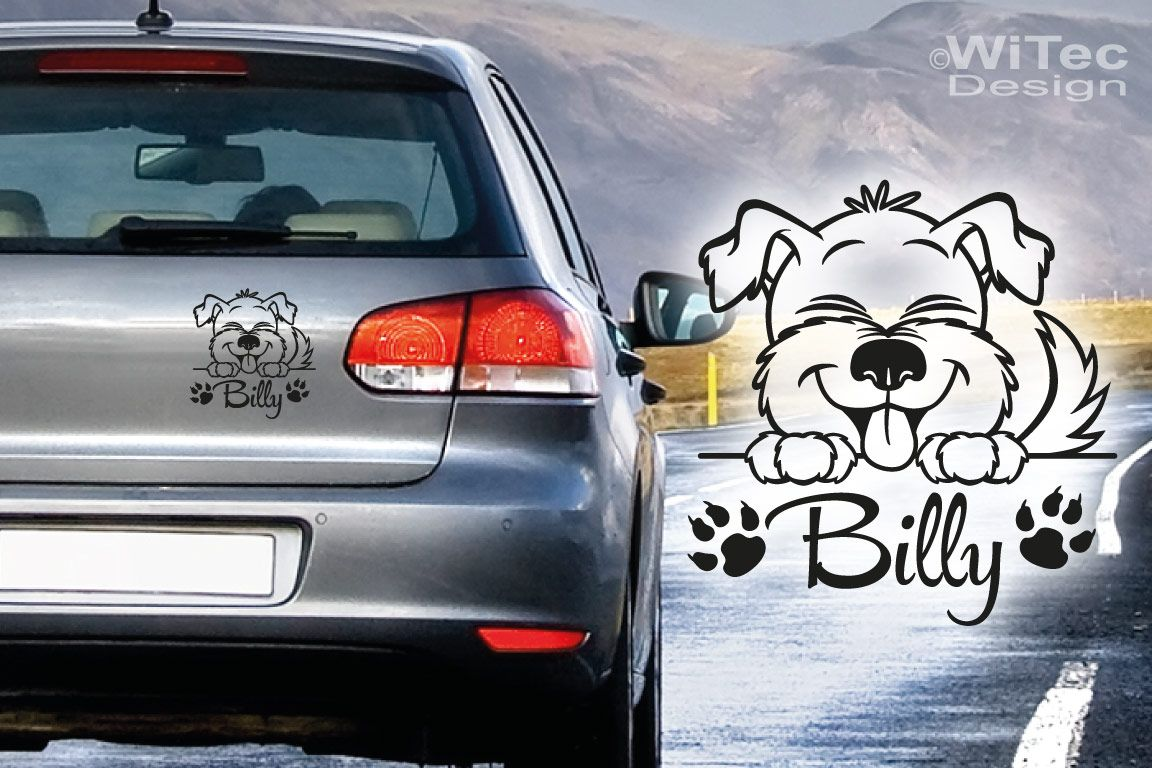 Hundeaufkleber Hund Pfoten Name Aufkleber Auto