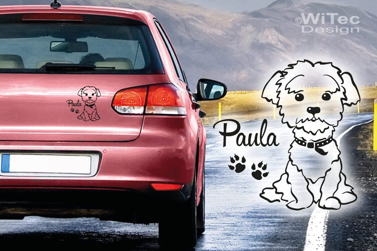 Malteser Hundeaufkleber Hundesticker Auto Aufkleber Pfoten