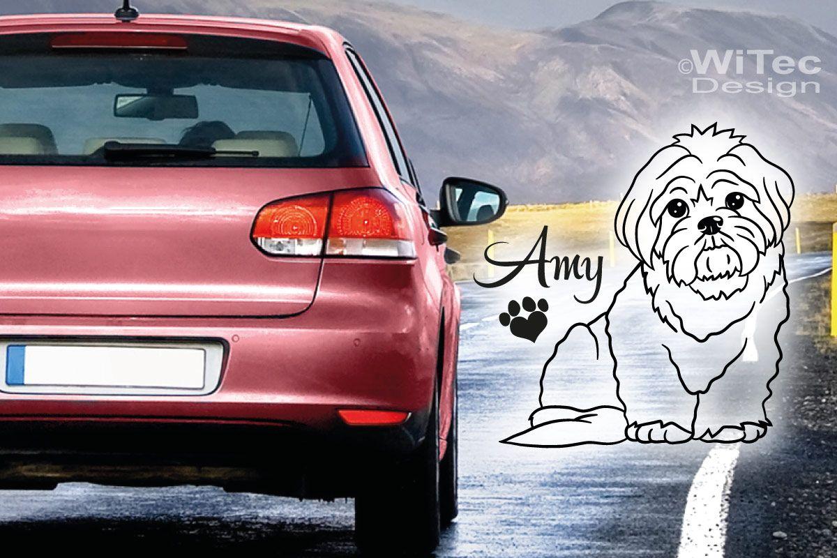 Malteser Hundeaufkleber Hundesticker Auto Aufkleber Pfote