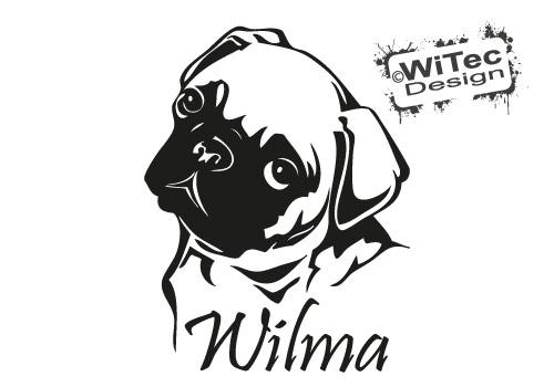 MOPS Wunschname Hundeaufkleber Autoaufkleber Hunde