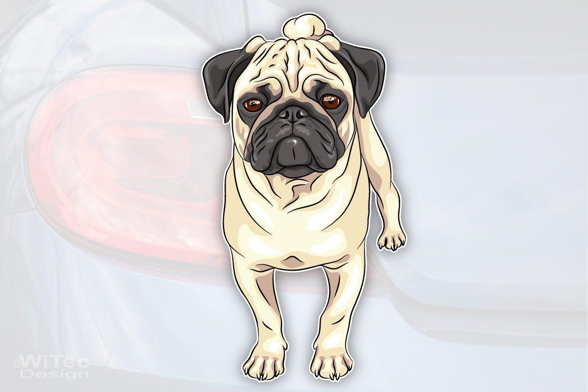 Hundeaufkleber Mops Pug Autoaufkleber
