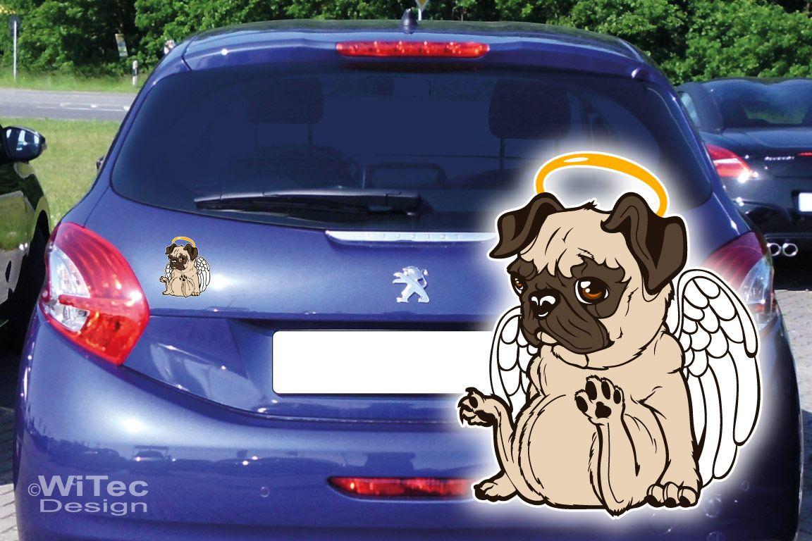 Hundeaufkleber Mops Engel Auto Aufkleber Hunde Hundetattoo
