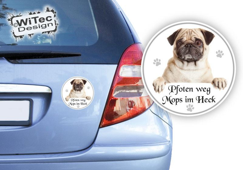 Mops Autoaufkleber Pfoten weg Aufkleber Auto Sticker Autosticker