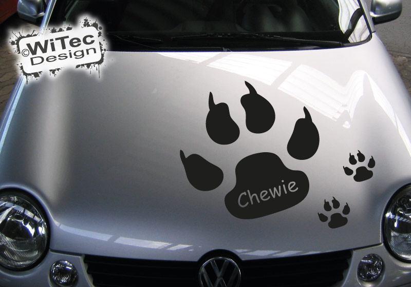 Hundepfote Wunschname Autoaufkleber Hund Pfoten Set