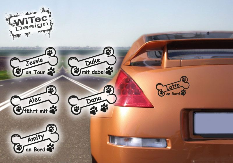 Autoaufkleber Hundeknochen Wunschname Pfoten Hundeaufkleber