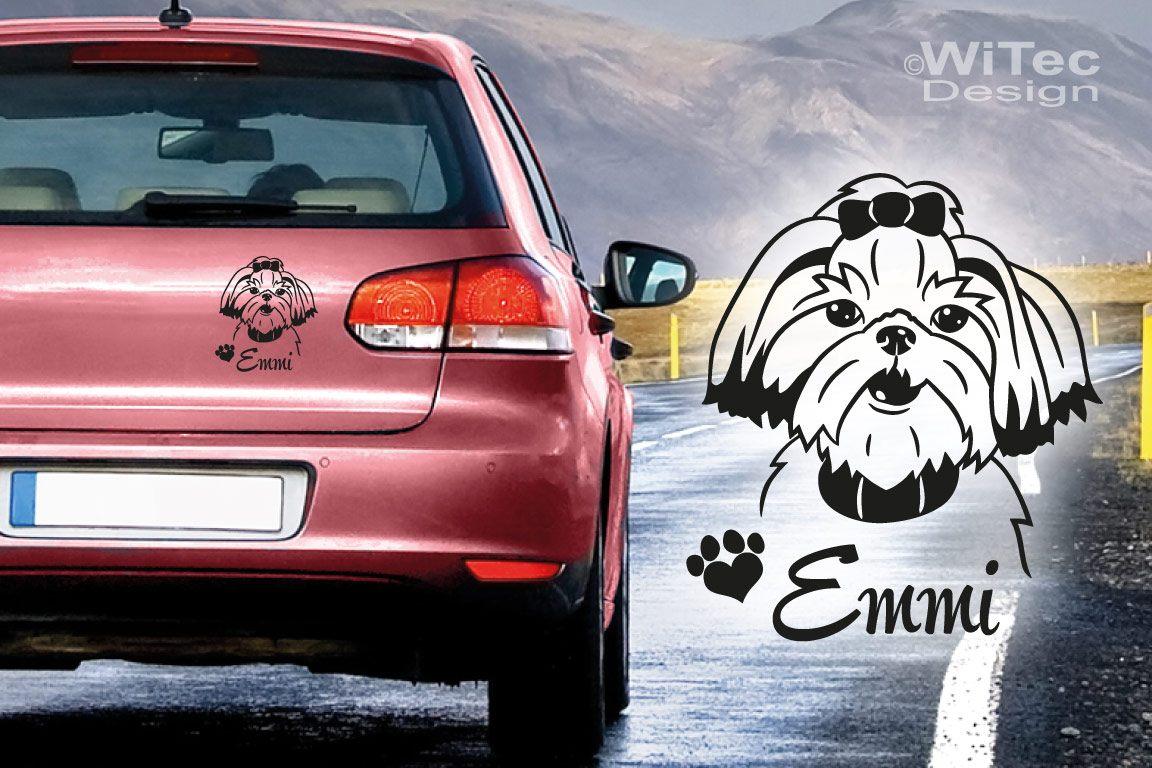 Hundeaufkleber Shih Tzu Wunschname Auto Aufkleber