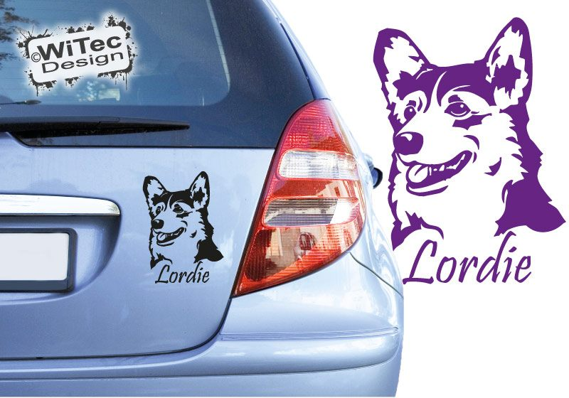 Hundeaufkleber Welsh Corgi mit Namen Autoaufkleber Sticker
