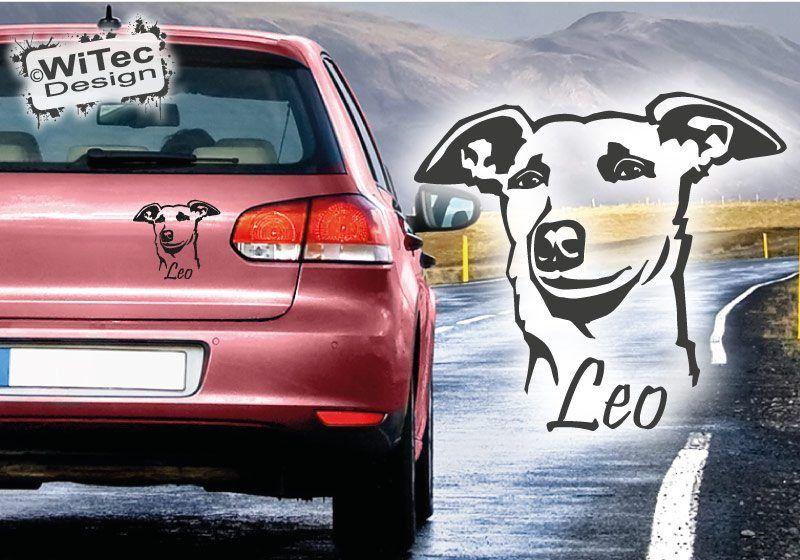 Hundeaufkleber Whippet Name Auto Aufkleber Autoaufkleber Hund