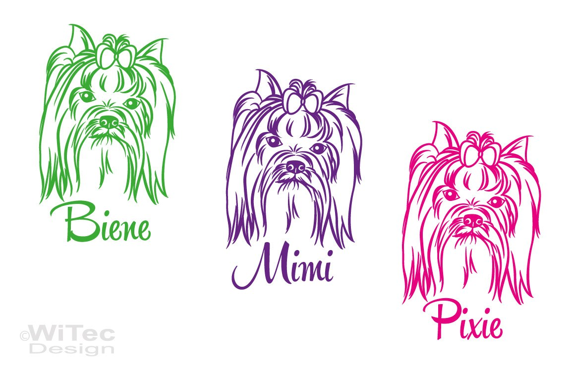 Hundeaufkleber Yorkshire Terrier Name Hundesticker Hunde Tattoo