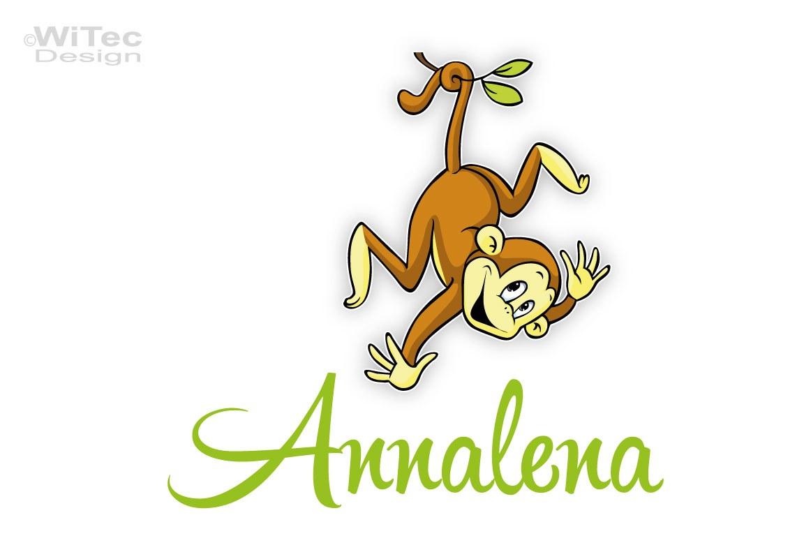 Türaufkleber Affe Name Kinderzimmer Türtattoo Afrika