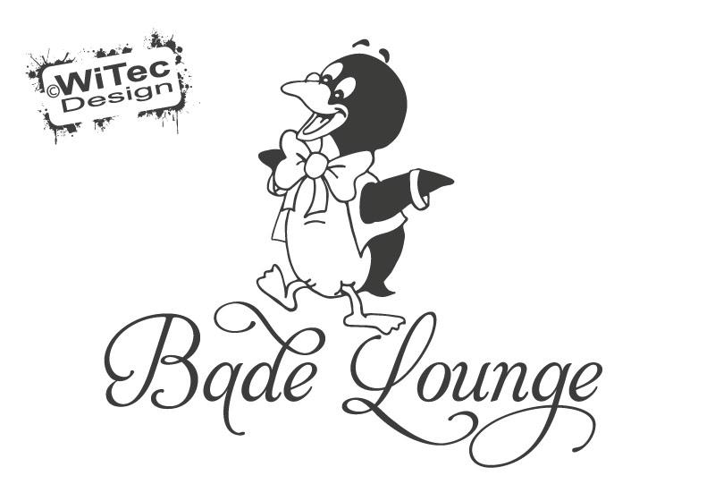 Türaufkleber Bade Lounge Pinguin Badezimmer