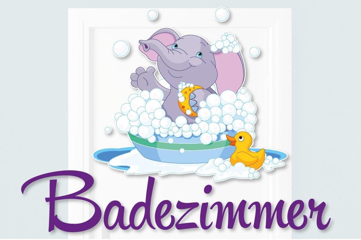 Türaufkleber Badezimmer Elefant Ente Bad Türtattoo