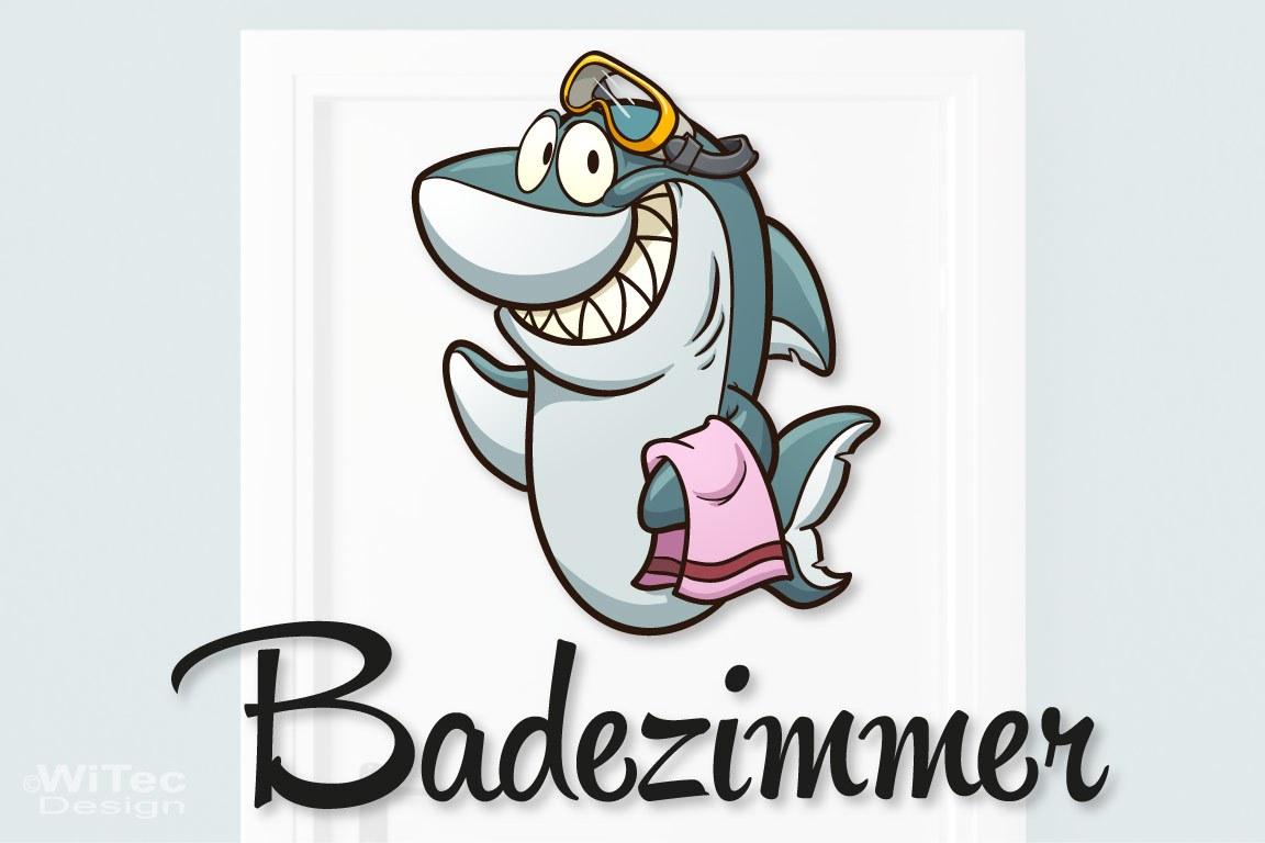 Türaufkleber Hai mit Handtuch und Brille Bad Türtattoo