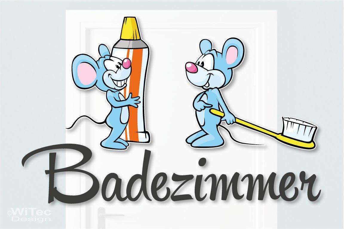 Türaufkleber Badezimmer Mäuse Zahnbürste Türtattoo