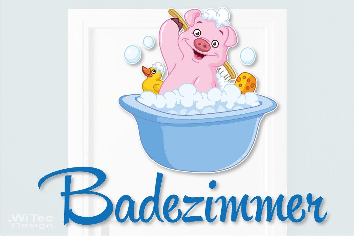 Türaufkleber Badezimmer Schweinchen Ente Bad Türtattoo