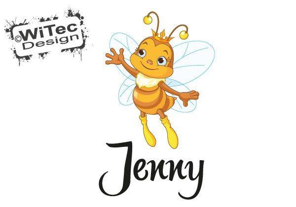 Türaufkleber Biene Prinzessin Wunsch Name