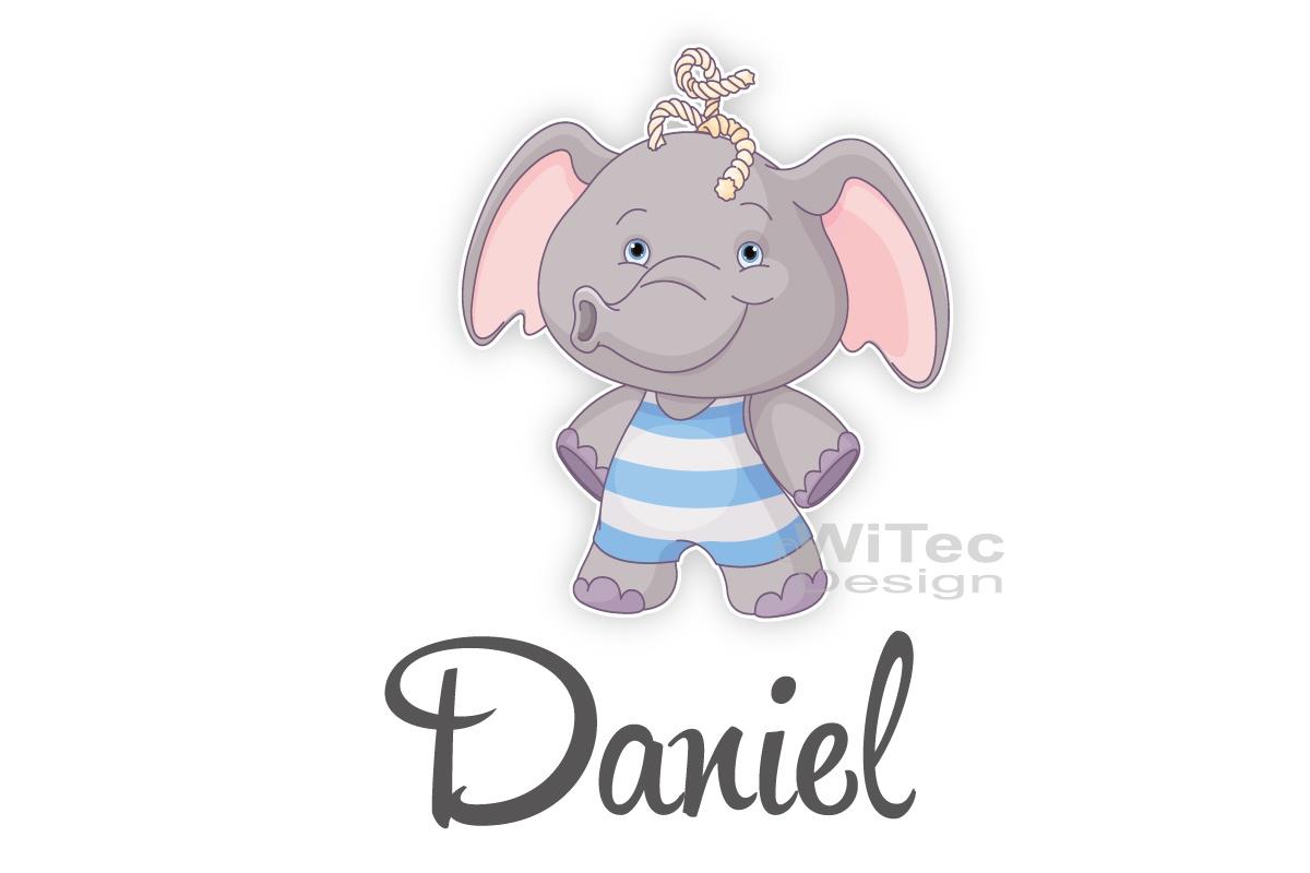 Türaufkleber Elefant Wunschname Kinderzimmer