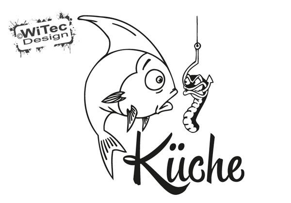 Türaufkleber Fisch Wurm Angelhaken Küche Türtattoo Küchentür