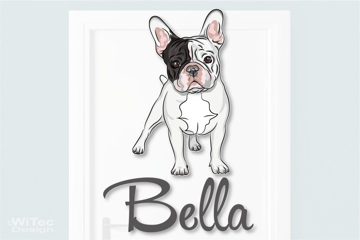 Türaufkleber Französische Bulldogge Wunschname