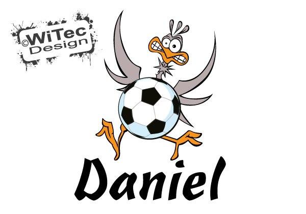 Türaufkleber Fußball Vogel Wunsch Name