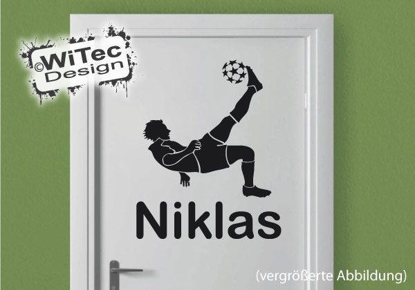 Fußball Wunsch Name Türaufkleber