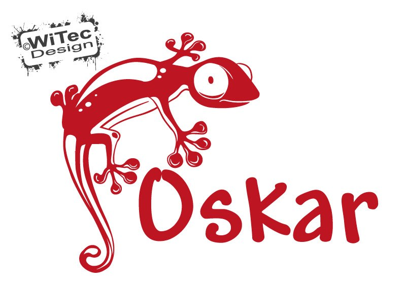 Türaufkleber Gecko Gekko Name Kinderzimmer Türtattoo