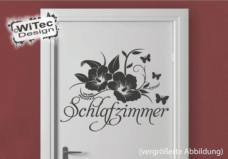 Türaufkleber Schlafzimmer Hibiskus Blumen Schmetterling Aufkleber