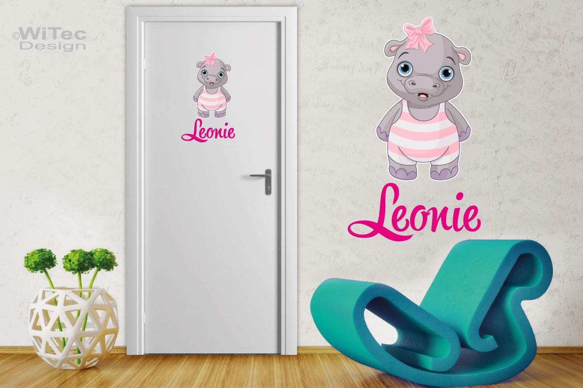 Türaufkleber Hippo Wunschname Kinderzimmer Sticker