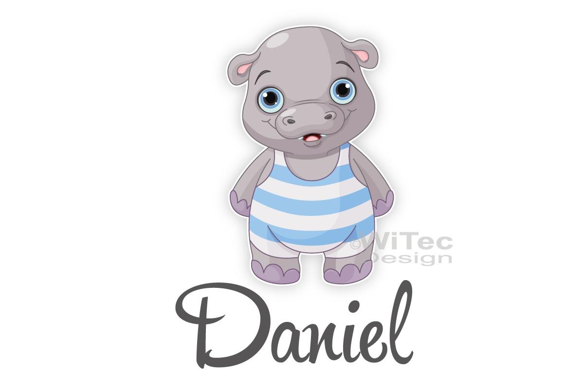 Türaufkleber Hippo Wunschname Kinderzimmer