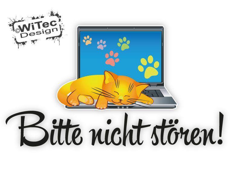 Bitte nicht stören Türaufkleber Katze Laptop Katzenpfoten