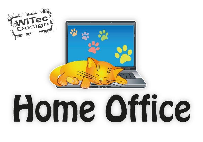 Türaufkleber Katze Laptop Katzenpfoten Home Office