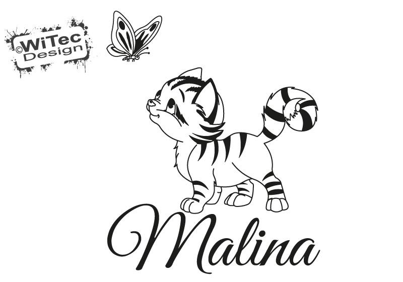 Türaufkleber Katze Schmetterling Kinderzimmer Tür Aufkleber