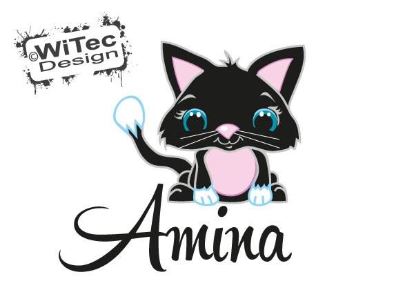 Türaufkleber Katze Baby Wunsch Name