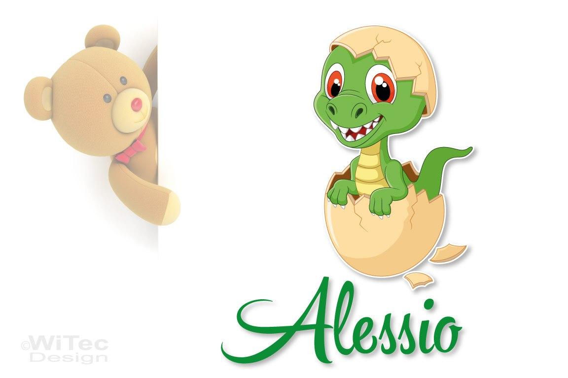 Türaufkleber Dino aus dem Ei Wunschname Kinderzimmer Türtattoo