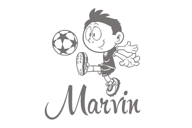 Türaufkleber Fußball Fussball Junge Name Kinderzimmer