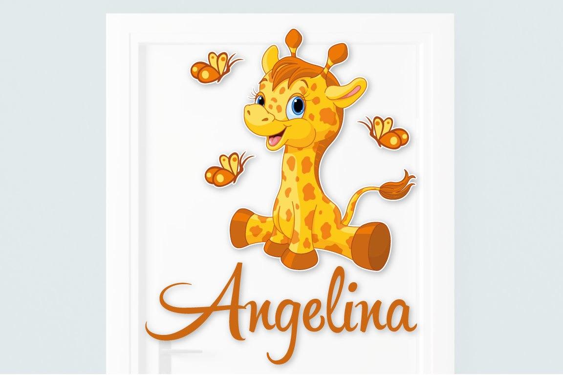 Türaufkleber Giraffe Wunschname Kinderzimmer Türtattoo