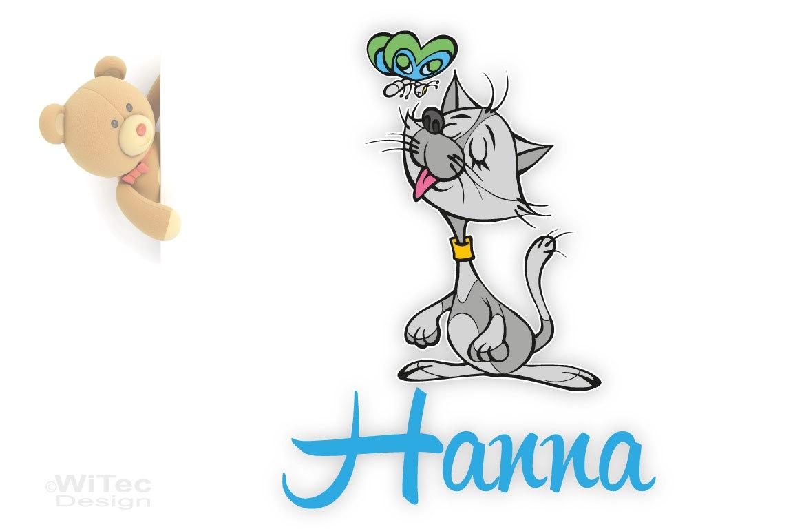 Türaufkleber Katze Wunschname Kinderzimmer