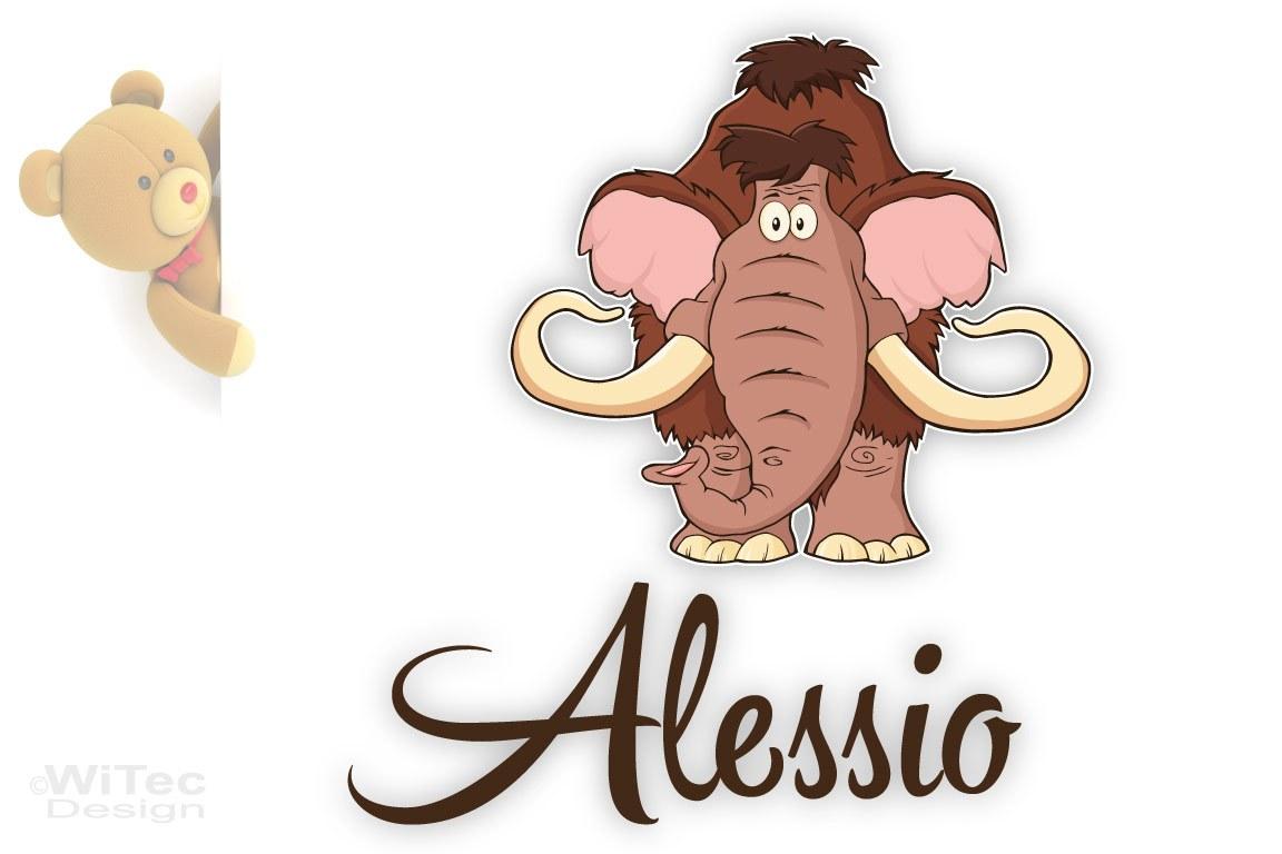 Türaufkleber Mammut Wunschname Kinderzimmer